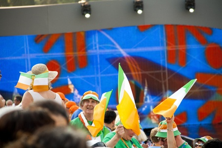 croud: Athens 2011 Special Olympics Opening Ceremony - Irish people cheering Editorial