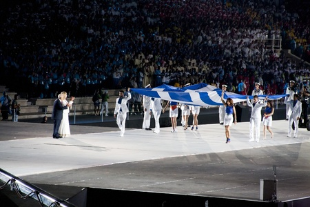 Athens 2011 Special Olympics Opening Ceremony - Flag in front of Papoulias