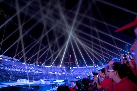 Athens 2011 Special Olympics Opening Ceremony - Lights over stadium Stock Photo - 9890624