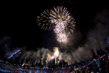 Athens 2011 Special Olympics Opening Ceremony - Ending fireworks landscape Stock Photo - 9890630