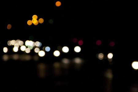 blur: Traffic bokeh at night on the background blurred manually