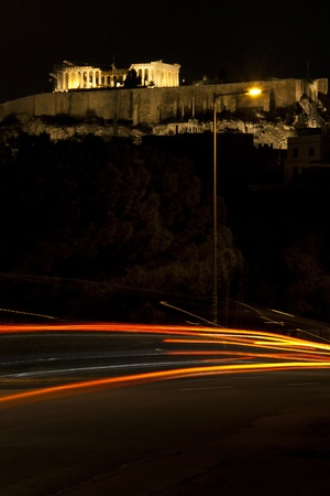 Akropolis by night with light trail photo