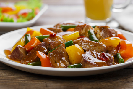 beef stew with peppers and green beans Stock Photo