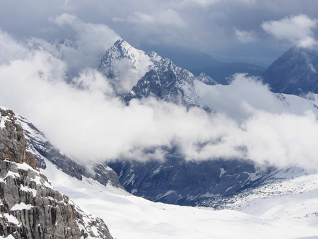 cloudiness: Landscape from Mount Zugspitze, 30 may, spring, Sunny day with variable cloudiness