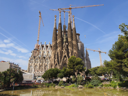 unfinished building: Expiatory Church of the Holy Family  - the most known the building created by Antoni Gaudi