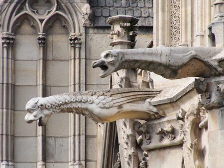 gargoyles: Close-up of gargoyles on wall