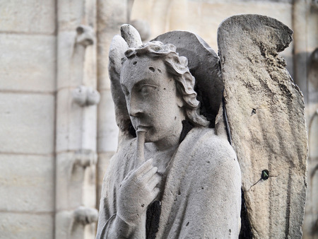 Sculpture of an angel on the roof of the Cathedral of Notre Dame.