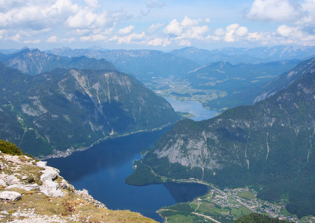 Panoramic view on Alps and lake Hallstatt from viewing platform Five Fingers at Dachstein massif. Stock Photo