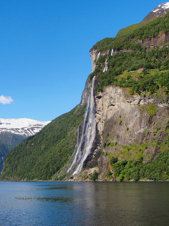 Waterfall Seven Sisters. Beautiful nature Norway, natural landscape, sunny day