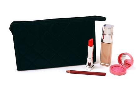 cosmetics bag: Cosmetics bag and makeup on a white background