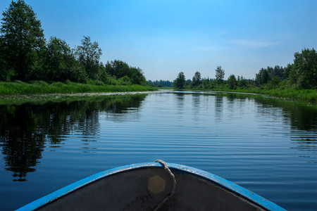greenness: landscape shot from boat on the river Narva. Nature of Russia. Stock Photo