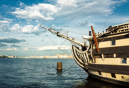 frigate: The bow of the ship. Frigate on the Neva river in St.Petersburg.
