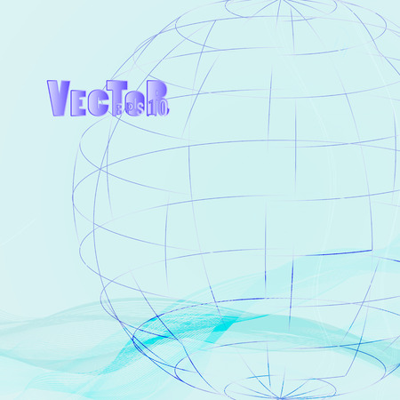 globe grid: Abstract grid globe, on a blue gradient background with linear waves and light reflections