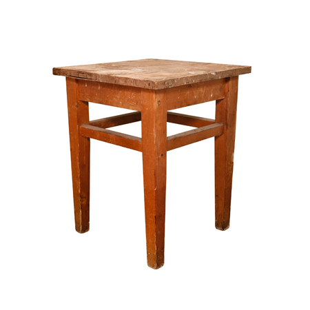 furniture part: A wooden stool. Rough scratched surface. Erect.