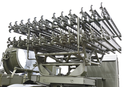 Self-propelled rocket launcher. Rocket. Military rocket launcher. Aimed at the clear sky. The tense situation in the world. Nuclear confrontation. Armed conflict. Missile troops.