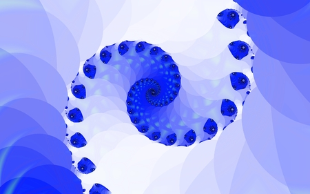 The blue spiral. Fancy spiral of lines and geometric shapes. Two symmetrical beam. Smooth color transitions from dark blue to white. An abstract figure.