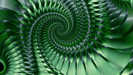 farther: Turbulence. Vortex motion of the ribbons , Green colors and shades. The space goes farther. Stylized strip of metal. Simulated metal surface. The spiral winds in several turns.