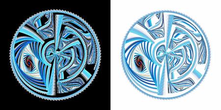 Mechanisch wiel. Illustratie van eeuwige beweging. Blauwe, blauwe en gekleurde lijnen in omtrek. Veel verschillende geometrische elementen. Het klokmechanisme in de figuur.