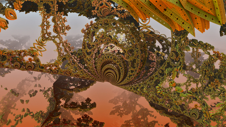 Fancy vegetable life form. Tree planet of robots. A fantastic background. Many different color forms. Geometric leaves and flowers. Conceptual image. The depth of the space in a haze and blur.