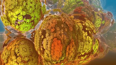 슬라이딩 공. 공 - 변압기의 3 차원 이미지. 분자의 양식. 다채로운 다층 구조.