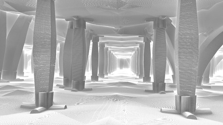 Fantastic room with lots of columns. By decorative columns. Carved pillars. An object in outer space. Alien architecture. The architectural structure of the distant future. Black-and-white variation. Banco de Imagens - 80807883