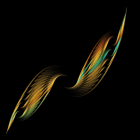 Wings. A stylized image of the wings. Lightness, airiness and speed. For illustration of installation. Use as a banner. Isolated on black background. Imagens