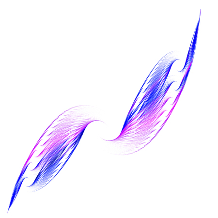 Wings. A stylized image of the wings. Lightness, airiness and speed. For illustration of installation. Use as a banner. Isolated on white background.
