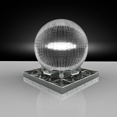 3D rendering. Crystal ball. The subject of divination. Metal stand and a fragile balloon. Sorcerers and fortune-tellers. Esoteric cult.The mysterious ritual and alchemy.