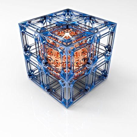 3D rendering. Ball in a cube. Carved ball copper color in an openwork lattice cubic shape. The thin lines in the form of cells. Illustration of geometric shapes. Jewelry. Carved metal.