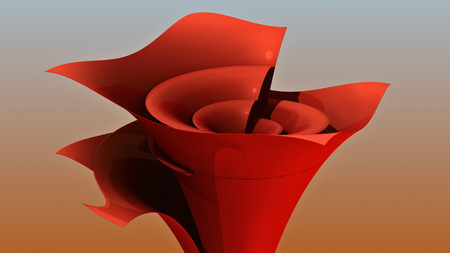3D rendering. Funnel. Colored stylized funnel from thin sheet. Spatial geometry. Funnel time. Creative flower vase. A conceptual design. Sales funnel.