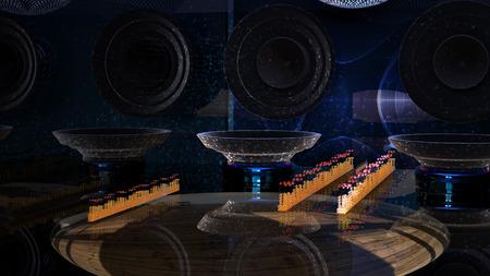 3D-rendering. Oscilloscoop en een muziekkamer. Stockfoto - 83828908