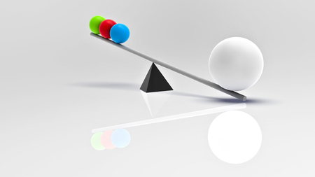 outweighs: 3D rendering. The scales swing. Stylized image of scales. Balls of colored materials. Big ball outweighs a small three. The importance of the case on the scales. The weighing of ideas.