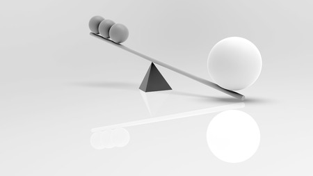 outweighs: 3D rendering. The scales swing. Stylized image of scales. Balls of matte materials. Black and white illustration of a Big ball outweighs a small three. The importance of the case on the scales. The weighing of ideas.