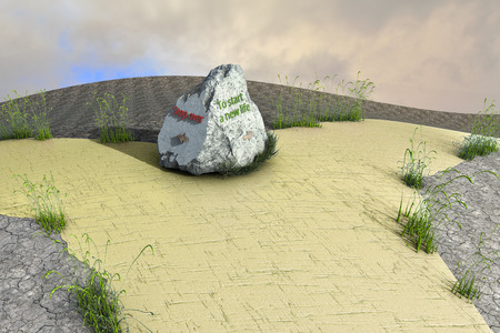 3D rendering.  Fabulous roads that branch out. On the road is a stone that symbolizes the beginning of a new life. The other side of the stone indicates a stop in development or businesses.