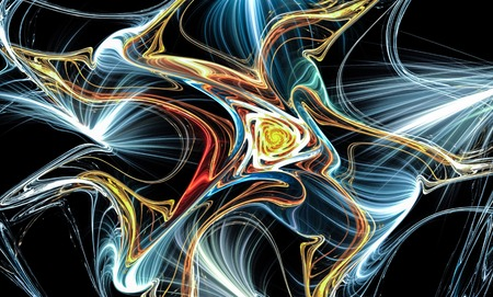 Illustration of cross color lines. Partially blurry figure. The fractal visualization. Spatial shapes and lines. Symbolizes the eternal movement of time and space. Unknown objects around us. Stock Photo