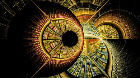 Illustratie van concentrische cirkels en lijnen. Gedeeltelijk wazig figuur. De fractal visualisatie. Ruimtelijke vormen en lijnen. Symboliseert de eeuwige beweging van tijd en ruimte. Onbekende objecten om ons heen Stockfoto