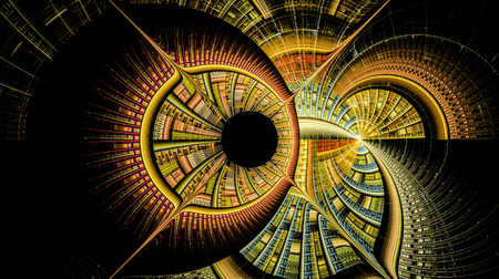 Illustration of concentric circles and lines. Partially blurry figure. The fractal visualization. Spatial shapes and lines. Symbolizes the eternal movement of time and space. Unknown objects around us Stock Photo