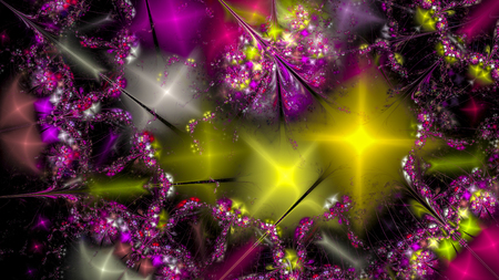 Stylized images of flowers and intersecting spiral lines. The infinity of space and time. Chaotic movement in space. Collision of stars. Interaction of cosmic objects. The invisible world. Stock Photo