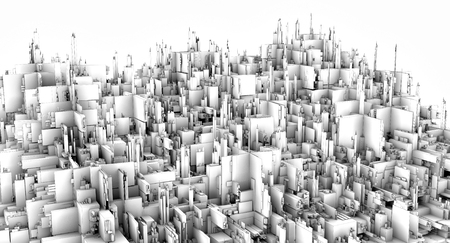 3D rendering. A futuristic city. Fantastic huge cluster of skyscrapers. Utopian picture. Performed in ambient air occludin.