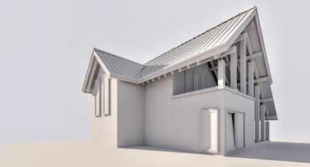 3D rendering. A small country house. Illustration of a two-storey house. For a small family. Styling. Performed as the ambient occludin. To illustrate the construction company.