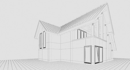 3D rendering. A small country house. Illustration of a two-storey house. For a small family. Styling. Performed as a linear illustration. To illustrate the construction company.