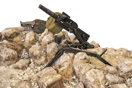 Machine gun in the rocks