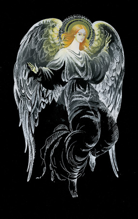eden: Beautiful angel with wings in black background vector Illustration