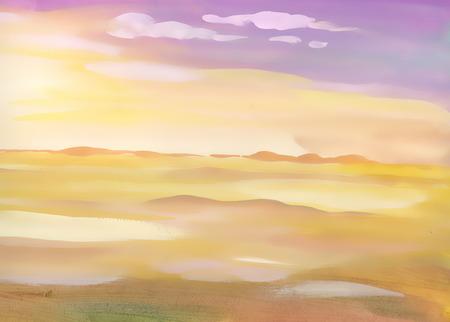 水彩砂漠砂風景