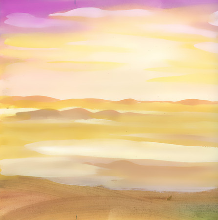 Watercolor desert sand landscape  イラスト・ベクター素材