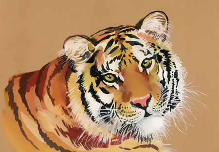 Watercolor Tiger on a brown background
