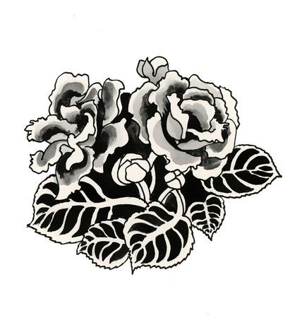 tone shading: Hand drawn black roses
