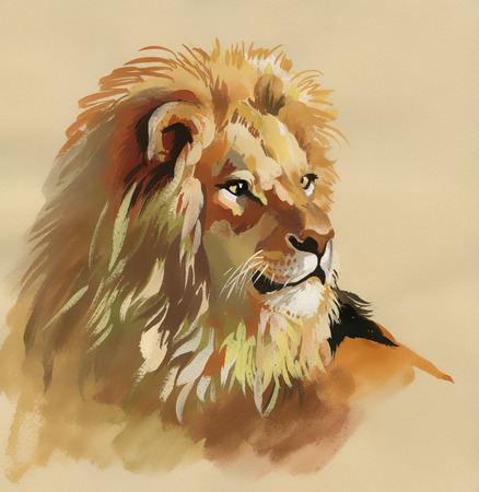 Watercolor lion on a brown background Imagens