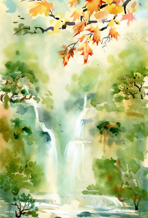 Watercolor illustration of beautiful waterfall and mountains