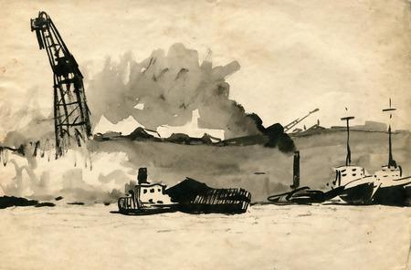 Seaport sketch Illustration